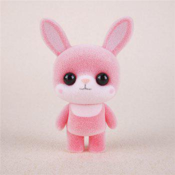 Mini Lovely Flocking Pink Rabbit Doll Furnishing Articles Kids Gift - PINK PINK