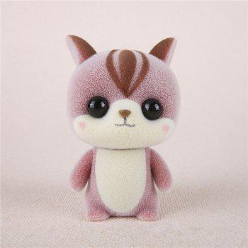 Mini Lovely Flocking Pink Squirrel Doll Furnishing Articles Kids Gift - PINK PINK