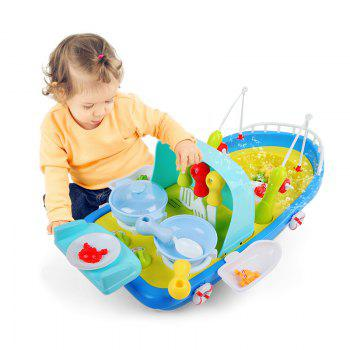 2 In 1 Fishing / Cooking Ship Pretend Play Toy with Light / Music for Kids - COLORMIX COLORMIX