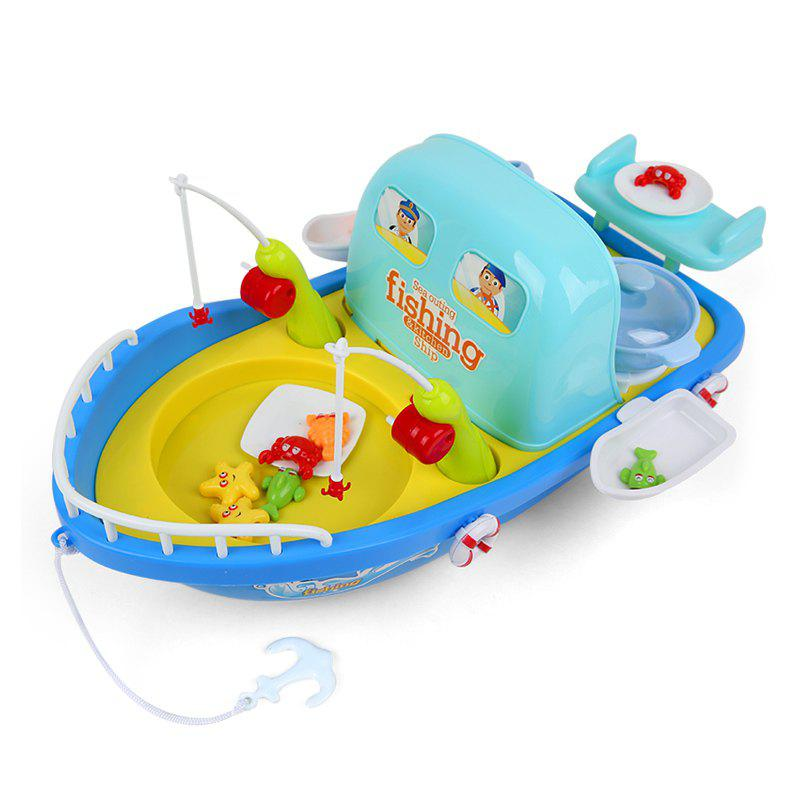 2 In 1 Fishing / Cooking Ship Pretend Play Toy with Light / Music for Kids - COLORMIX
