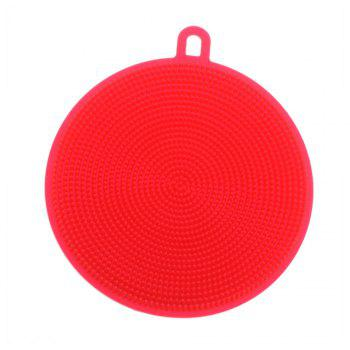2PCS Multifunction Silicone Dish Bowl Cleaning Brush Dish Sponge Kitchen Washing Tool - RED