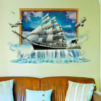 3D Scenery Ocean Sailing Ship Wall Stickers TV/Sofa Background Mural - BLUE