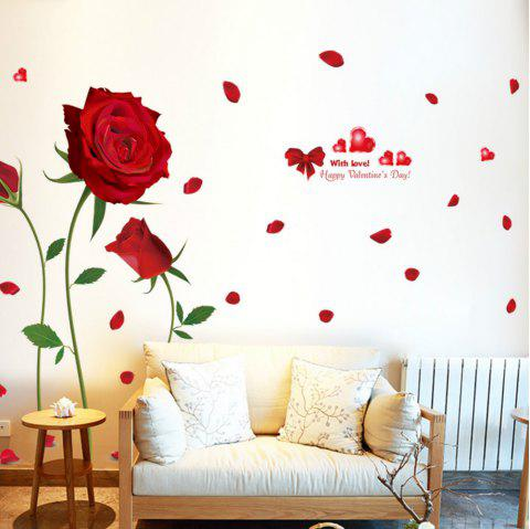 Romantique DIY Rouge Rose Sticker Mural Decal Home Room Art Decor - Rouge