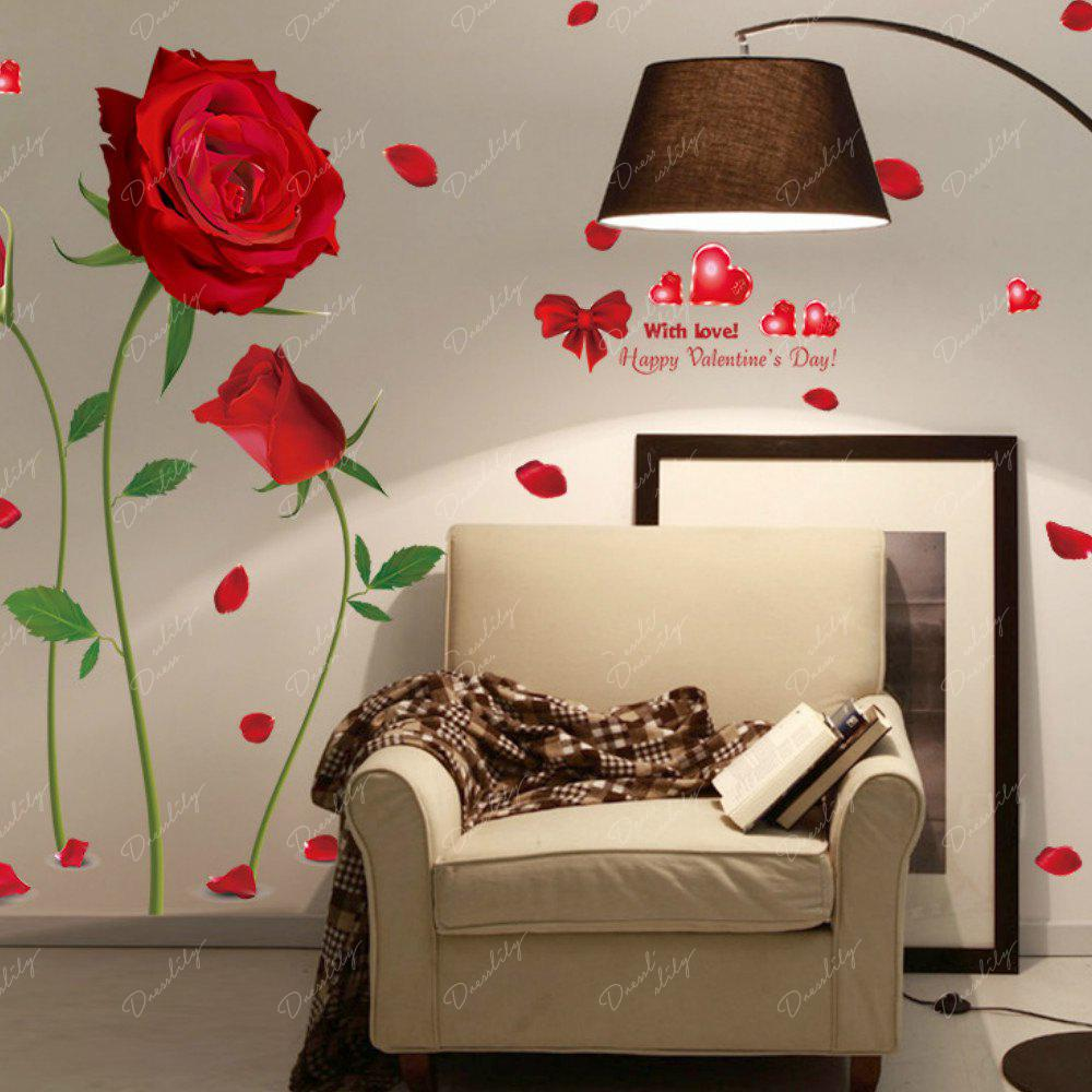 Romantic DIY Red Rose Wall Sticker Mural Decal Home Room Art Decor - RED