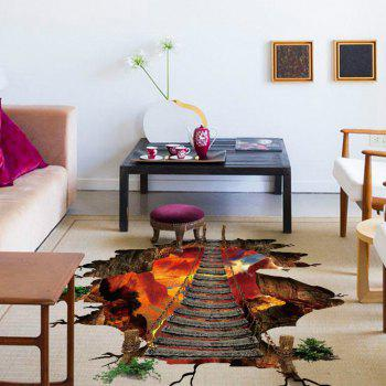 3D Floor Sticker Flaming Mountain Decals Home Decoration - RED