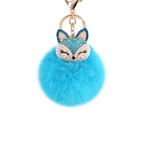 Anple Real Rabbit Fur Ball with Artificial Fox Head Inlay Pearl Rhinestone Key Chain for Womens Bag or Cellphone - WINDSOR BLUE