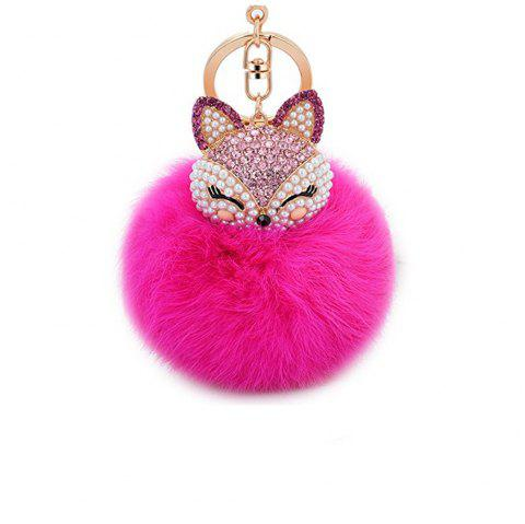 Anple Real Rabbit Fur Ball with Artificial Fox Head Inlay Pearl Rhinestone Key Chain for Womens Bag or Cellphone - ROSE MADDER