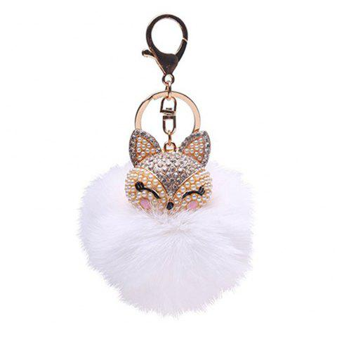 Anple Real Rabbit Fur Ball with Artificial Fox Head Inlay Pearl Rhinestone Key Chain for Womens Bag or Cellphone - WHITE