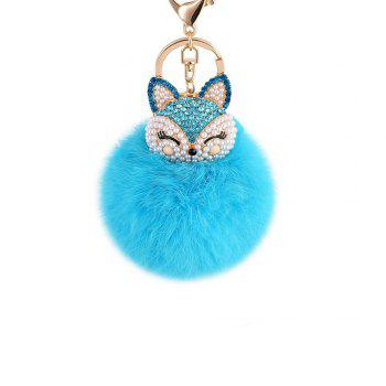 Anple Real Rabbit Fur Ball with Artificial Fox Head Inlay Pearl Rhinestone Key Chain for Womens Bag or Cellphone - WINDSOR BLUE WINDSOR BLUE
