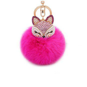 Anple Real Rabbit Fur Ball with Artificial Fox Head Inlay Pearl Rhinestone Key Chain for Womens Bag or Cellphone - ROSE MADDER ROSE MADDER