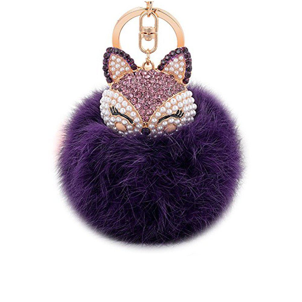 Anple Real Rabbit Fur Ball with Artificial Fox Head Inlay Pearl Rhinestone Key Chain for Womens Bag or Cellphone - PURPLE