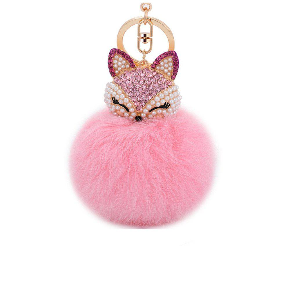 Anple Real Rabbit Fur Ball with Artificial Fox Head Inlay Pearl Rhinestone Key Chain for Womens Bag or Cellphone - PINK