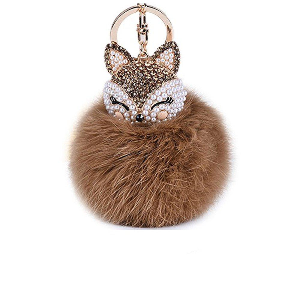 Anple Real Rabbit Fur Ball with Artificial Fox Head Inlay Pearl Rhinestone Key Chain for Womens Bag or Cellphone - BROWN