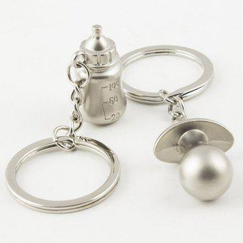Cute Romantic Creative Gift Metal Couple Keychain Love Key Ring -  SILVER