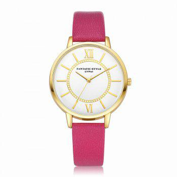 Lvpai P092-G Women Fashion Golden Bezel Leather Strap Wrist Watch - ROSE RED ROSE RED