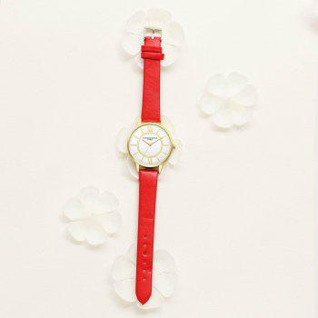 Lvpai P092-G Women Fashion Golden Bezel Leather Strap Wrist Watch - RED