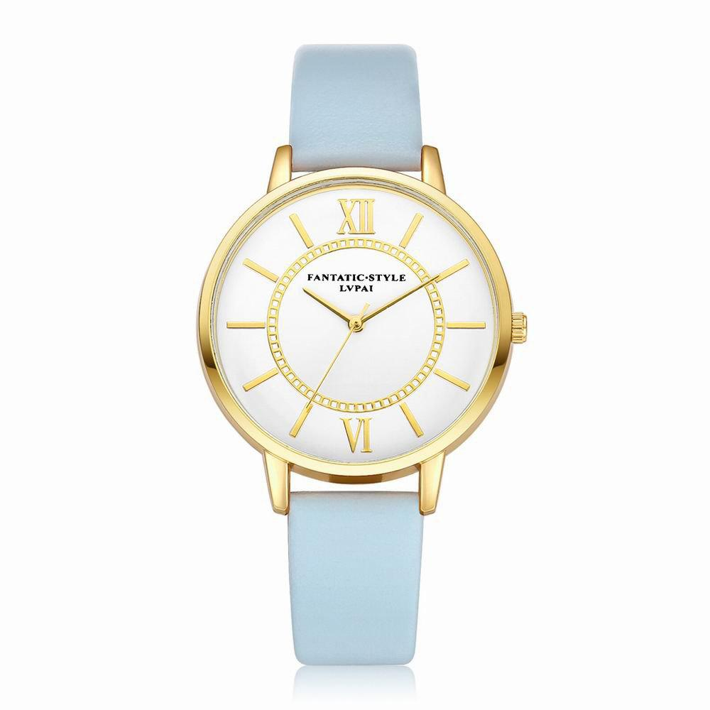 Lvpai P092-G Women Fashion Golden Bezel Leather Strap Wrist Watch - SKY BLUE