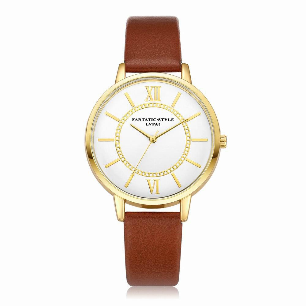 Lvpai P092-G Women Fashion Golden Bezel Leather Strap Wrist Watch - COFFEE