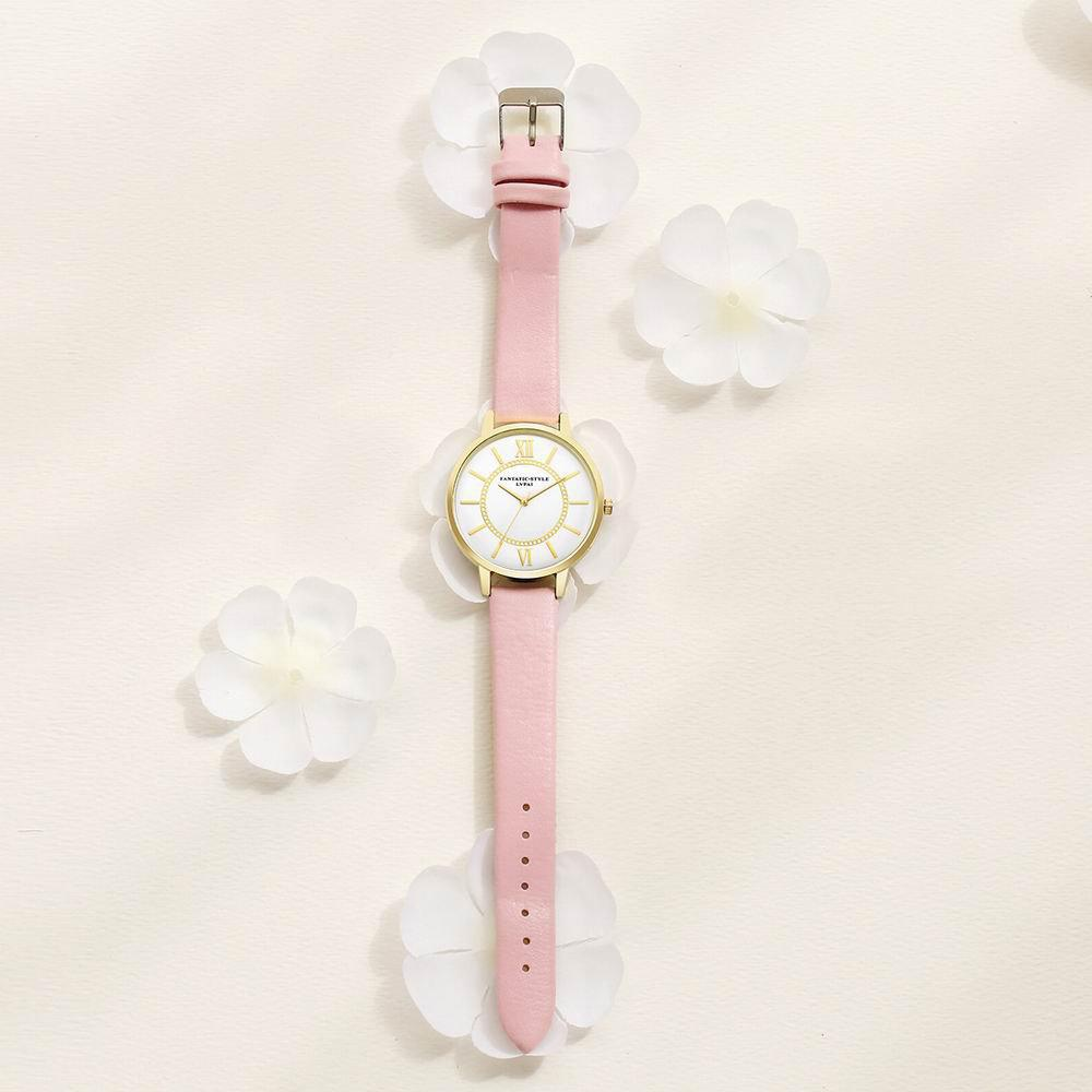 Lvpai P092-G Women Fashion Golden Bezel Leather Strap Wrist Watch - PINK