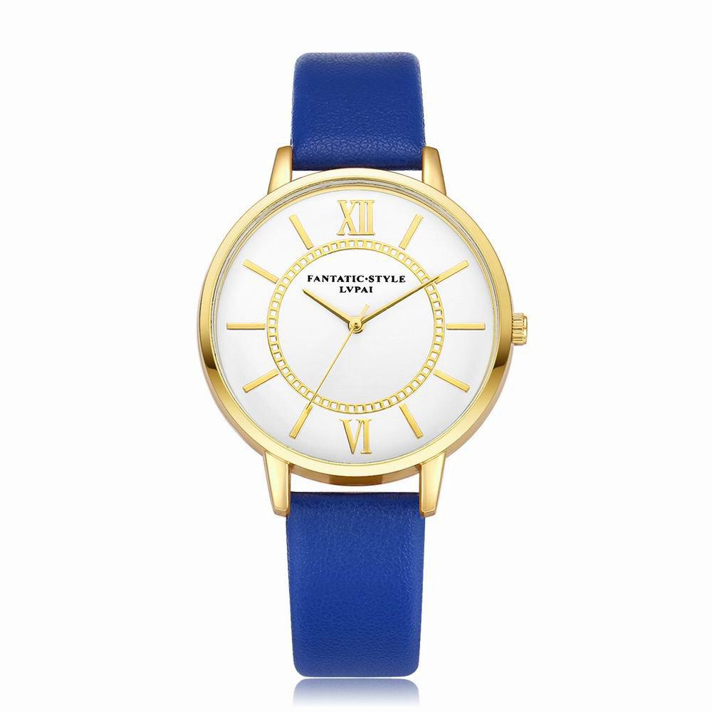 Lvpai P092-G Women Fashion Golden Bezel Leather Strap Wrist Watch - ROYAL