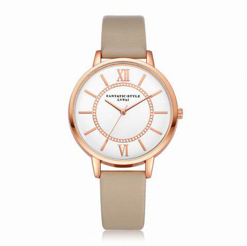 Lvpai P092-R Women Fashion Rose Gold Tone Bezel Leather Band Wrist Watches - BEIGE