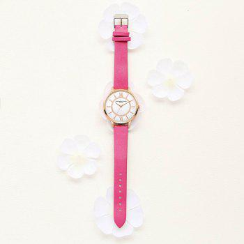 Lvpai P092-R Women Fashion Rose Gold Tone Bezel Leather Band Wrist Watches -  ROSE RED