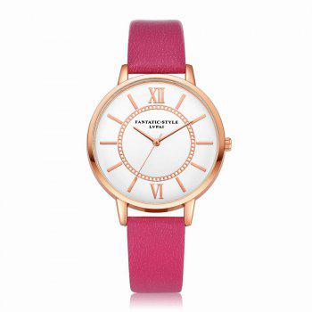 Lvpai P092-R Women Fashion Rose Gold Tone Bezel Leather Band Wrist Watches - ROSE RED ROSE RED