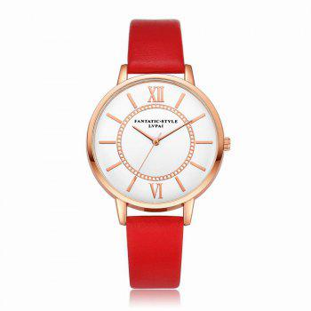 Lvpai P092-R Women Fashion Rose Gold Tone Bezel Leather Band Wrist Watches - RED RED