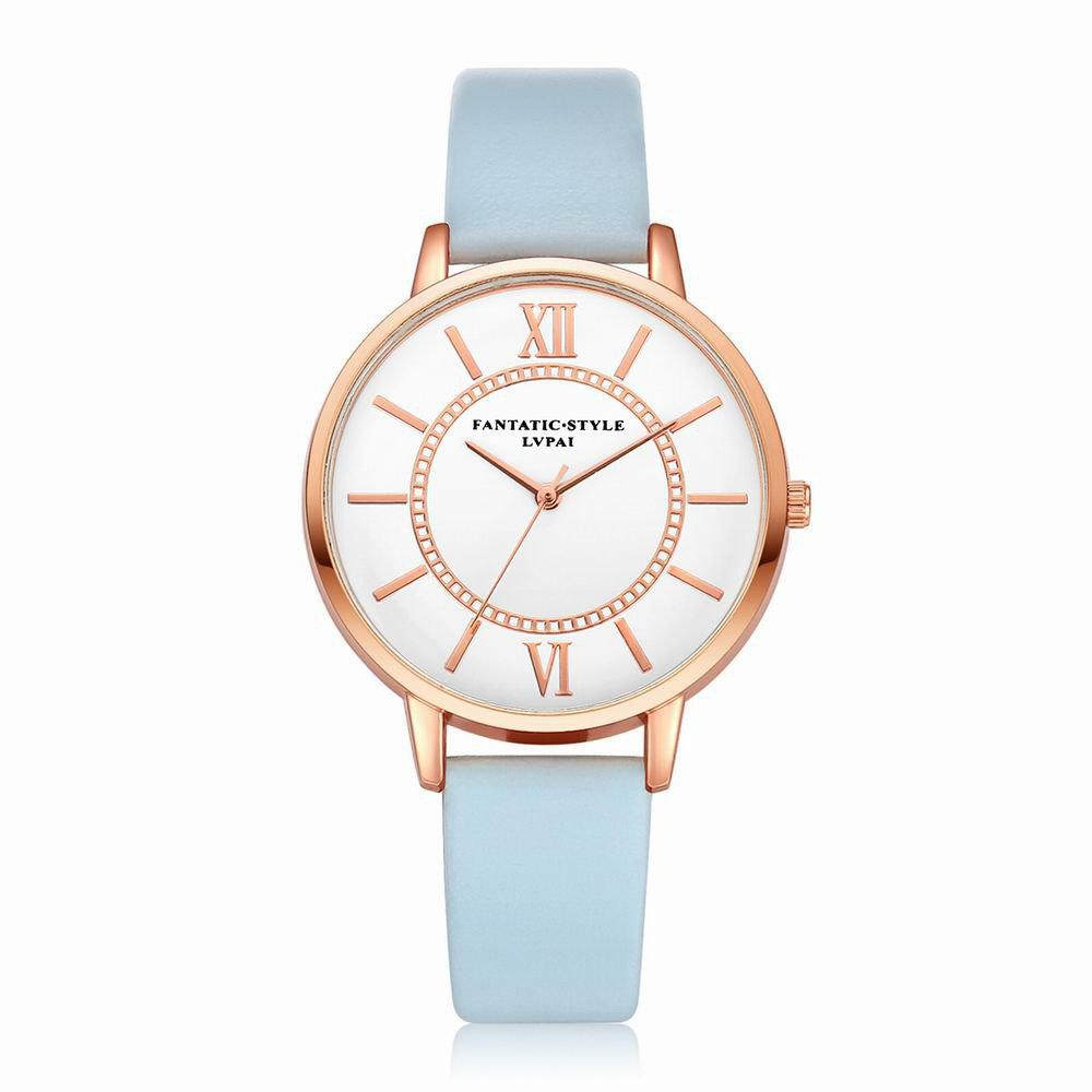 Lvpai P092-R Women Fashion Rose Gold Tone Bezel Leather Band Wrist Watches - SKY BLUE