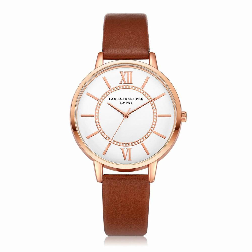 Lvpai P092-R Women Fashion Rose Gold Tone Bezel Leather Band Wrist Watches - COFFEE