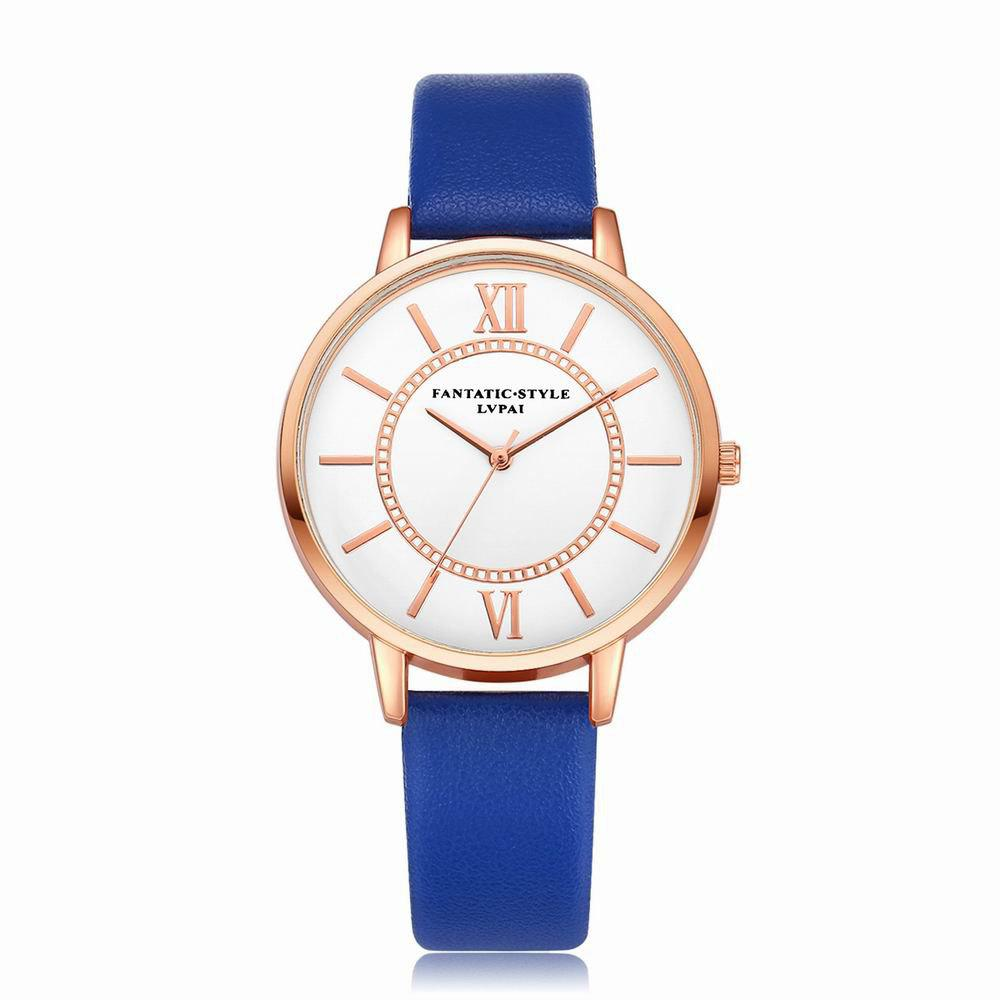 Lvpai P092-R Women Fashion Rose Gold Tone Bezel Leather Band Wrist Watches - ROYAL