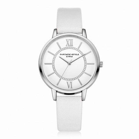 Lvpai P092-S Women Fashion Silver Tone Bezel Leather Band Wrist Watches - WHITE