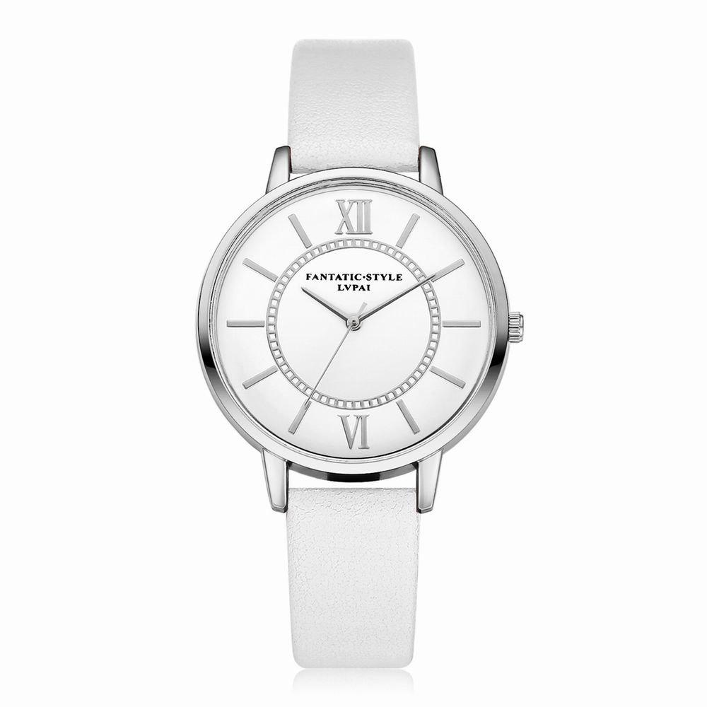Lvpai P092-S Women Fashion Silver Tone Bezel Leather Band Wrist Watches
