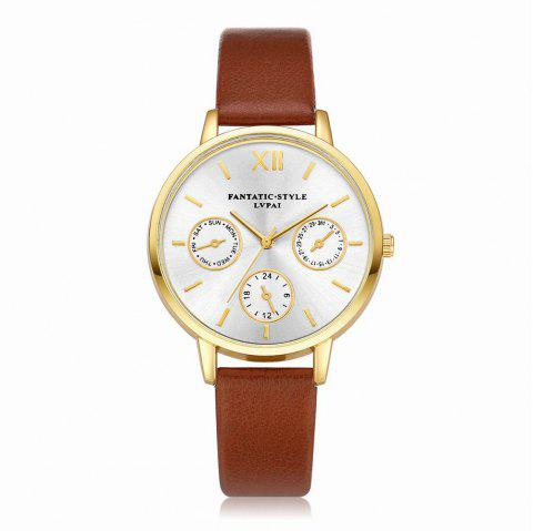 Lvpai P093-G Women Casual Leather Strap Quartz Watches - COFFEE