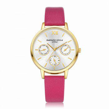 Lvpai P093-G Women Casual Leather Strap Quartz Watches - ROSE RED ROSE RED