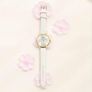 Lvpai P093-G Women Casual Leather Strap Quartz Watches - WHITE