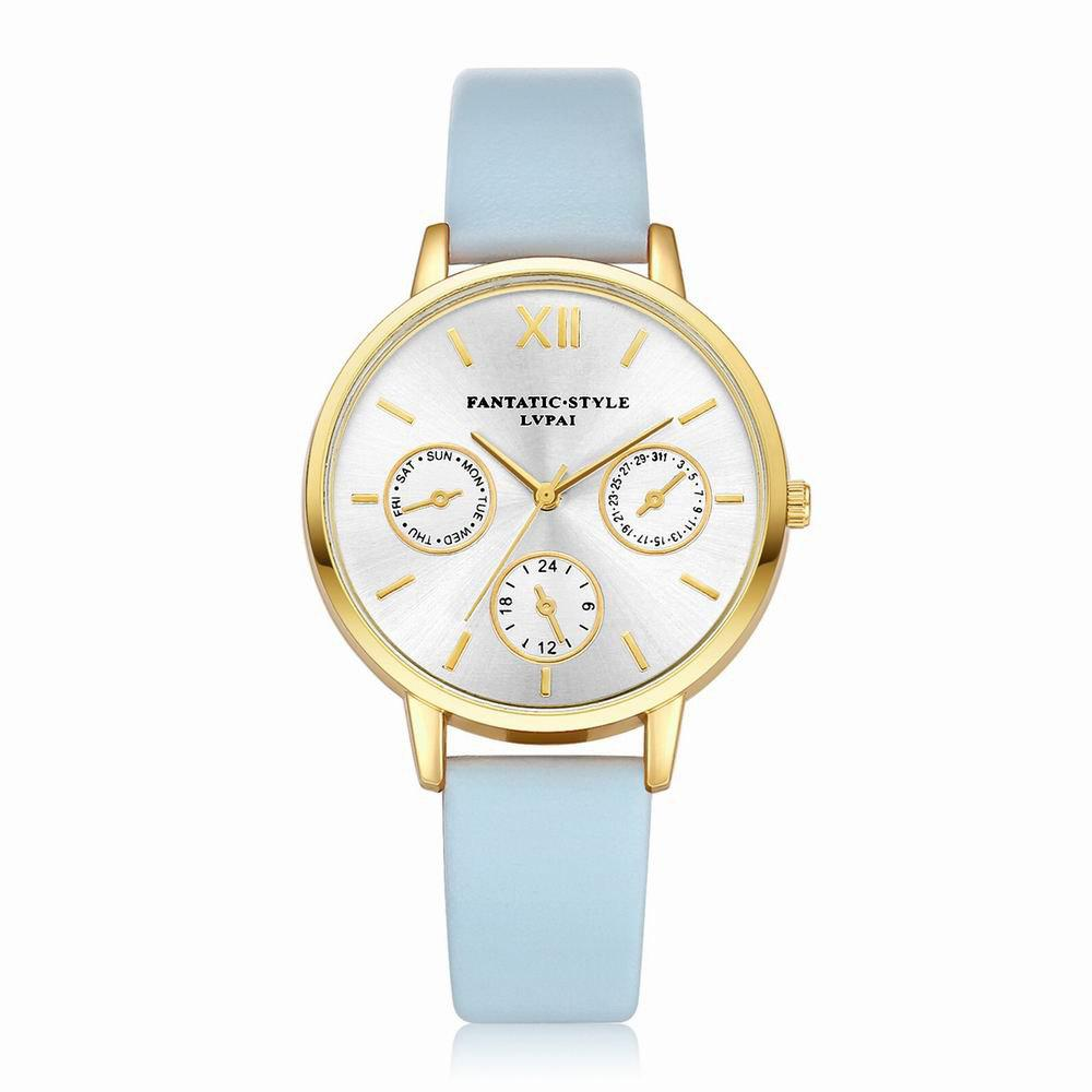 Lvpai P093-G Women Casual Leather Strap Quartz Watches - SKY BLUE