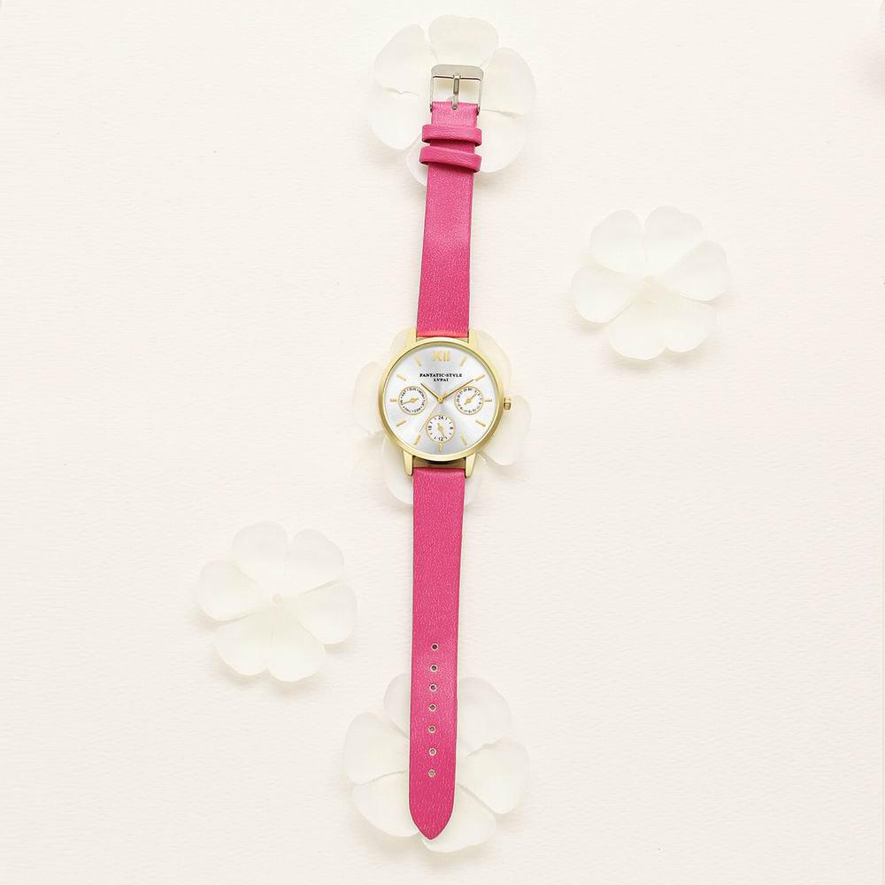 Lvpai P093-G Women Casual Leather Strap Quartz Watches - ROSE RED