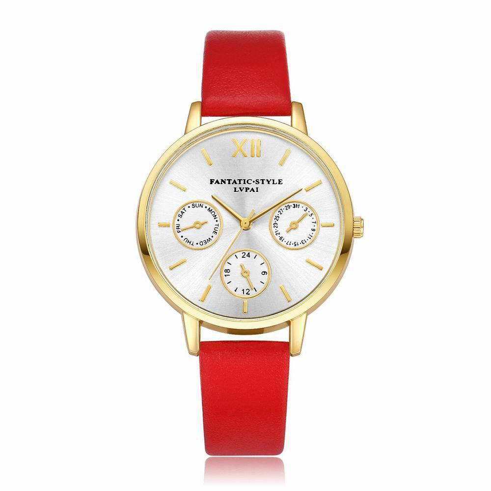 Lvpai P093-G Women Casual Leather Strap Quartz Watches - RED