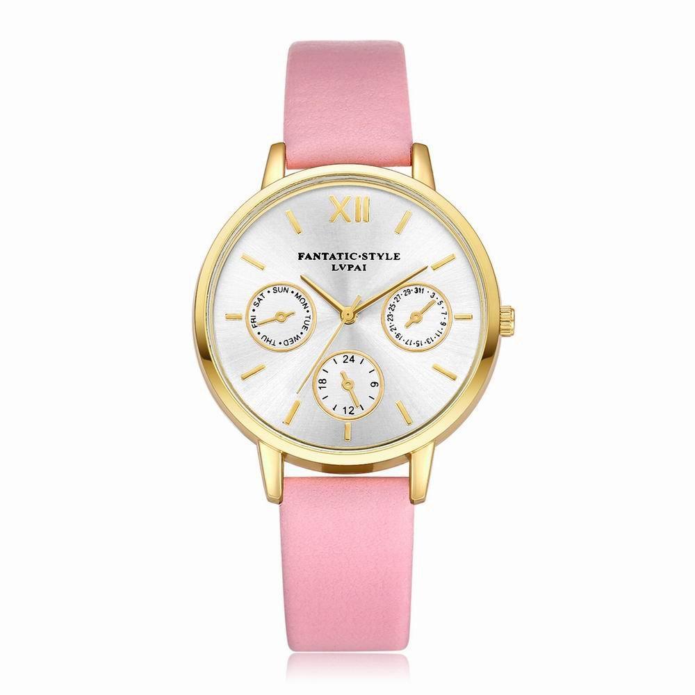Lvpai P093-G Women Casual Leather Strap Quartz Watches - PINK