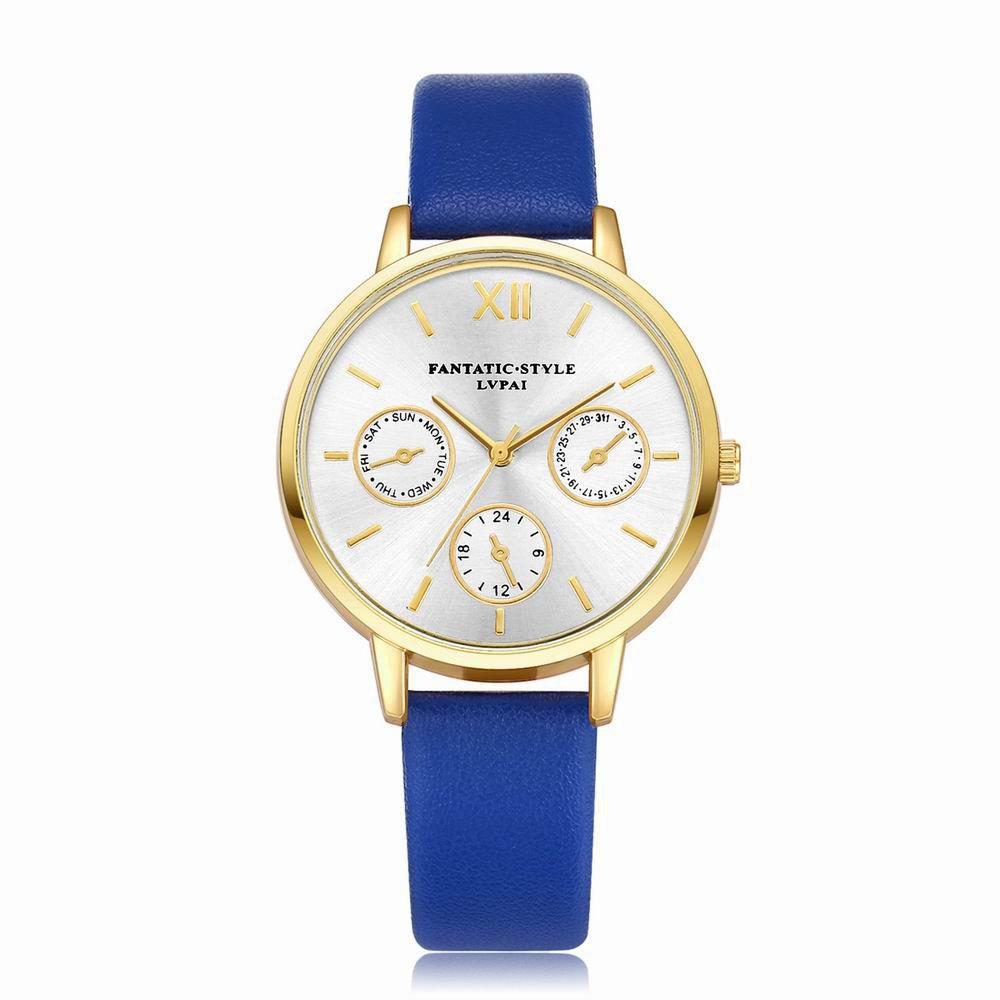 Lvpai P093-G Women Casual Leather Strap Quartz Watches - ROYAL