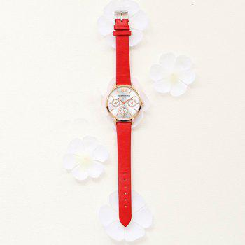 Lvpai P093-R Women Casual Leather Strap Quartz Watches - RED