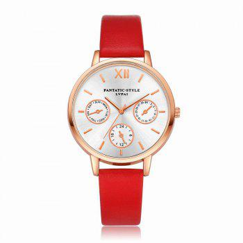 Lvpai P093-R Women Casual Leather Strap Quartz Watches - RED RED
