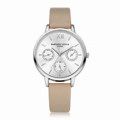 Lvpai P093-S Women Casual Leather Strap Quartz Watches - BEIGE