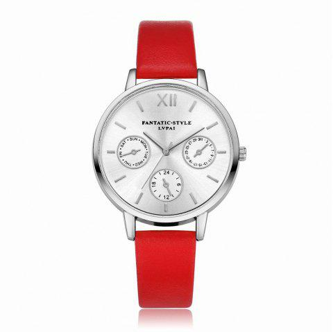 Lvpai P093-S Women Casual Leather Strap Quartz Watches - RED