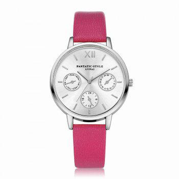 Lvpai P093-S Women Casual Leather Strap Quartz Watches - ROSE RED ROSE RED