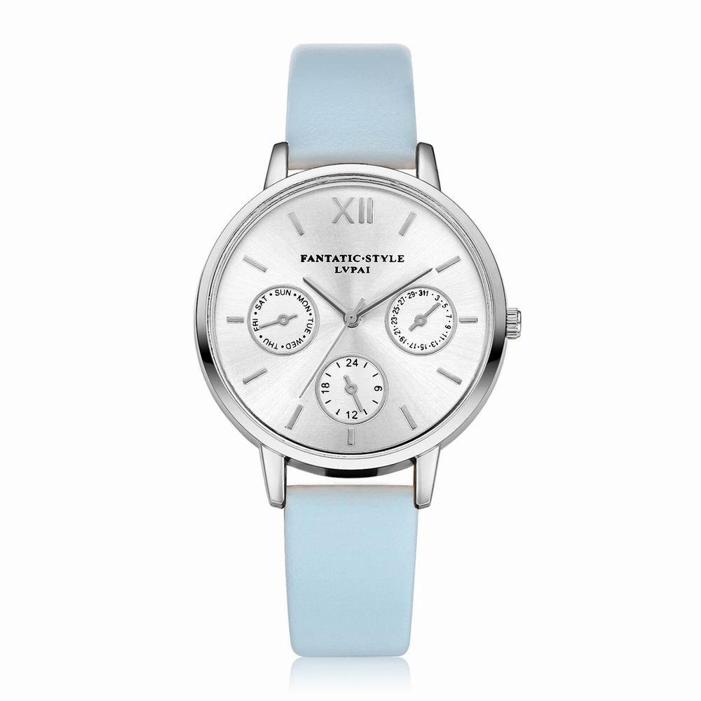 Lvpai P093-S Women Casual Leather Strap Quartz Watches - SKY BLUE