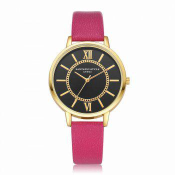 Lvpai P094-G Women Fashion Black Dial Leather Band Wrist Watches - ROSE RED ROSE RED