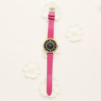 Lvpai P094-G Women Fashion Black Dial Leather Band Wrist Watches -  ROSE RED