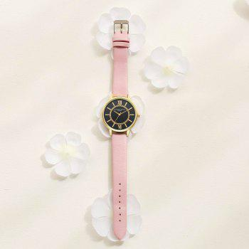 Lvpai P094-G Women Fashion Black Dial Leather Band Wrist Watches - PINK